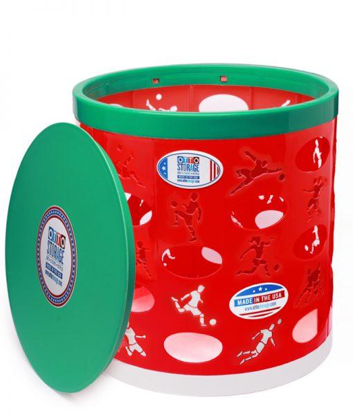 Soccer OTTO Storage Stool – red/green/white