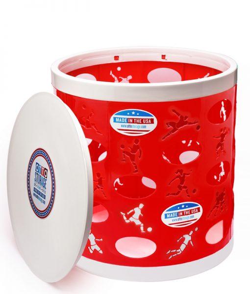 Soccer OTTO Storage Stool – red/white/white