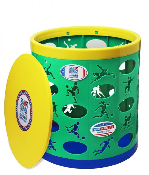 Soccer OTTO Storage Stool – geen/yellow/blue