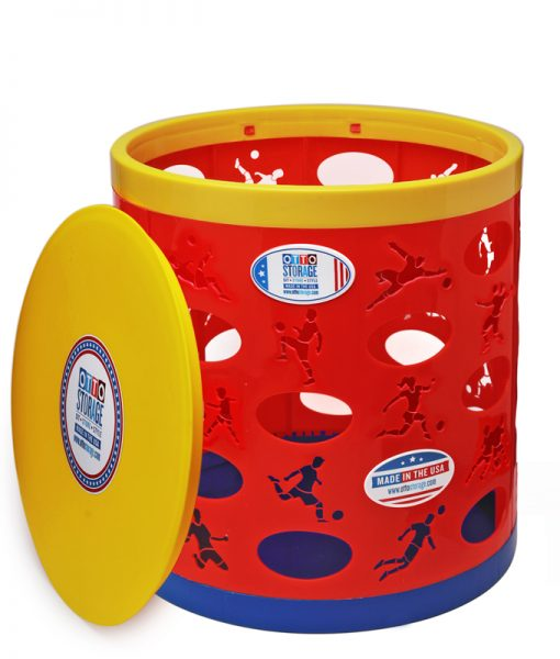 Soccer OTTO Storage Stool – red/yellow/blue