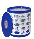 Soccer OTTO Storage Stool – white/blue/blue